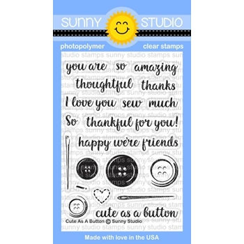 Sunny Studio CUTE AS A BUTTON Clear Stamp Set SSCL-165