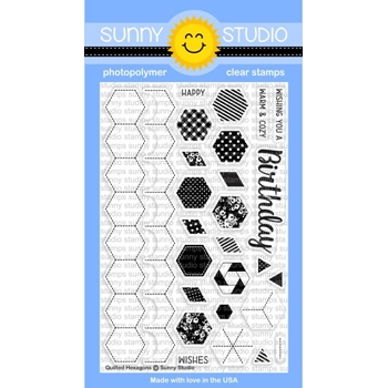 Sunny Studio QUILTED HEXAGONS Clear Stamp Set SSCL-164