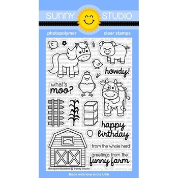 Sunny Studio BARNYARD BUDDIES Clear Stamp Set SSCL-169