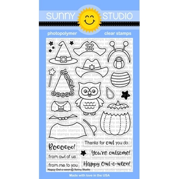 Sunny Studio HAPPY OWL-O-WEEN Clear Stamp Set SSCL-171
