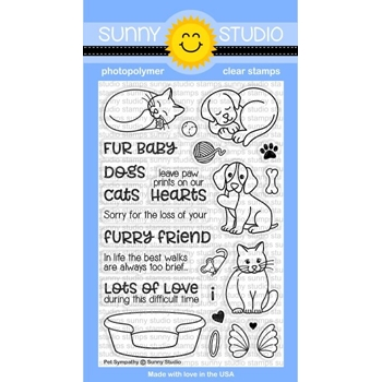 Sunny Studio PET SYMPATHY Clear Stamp Set SSCL-170