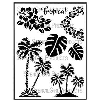 StencilGirl TROPICAL TWIST 9x12 Stencil L549