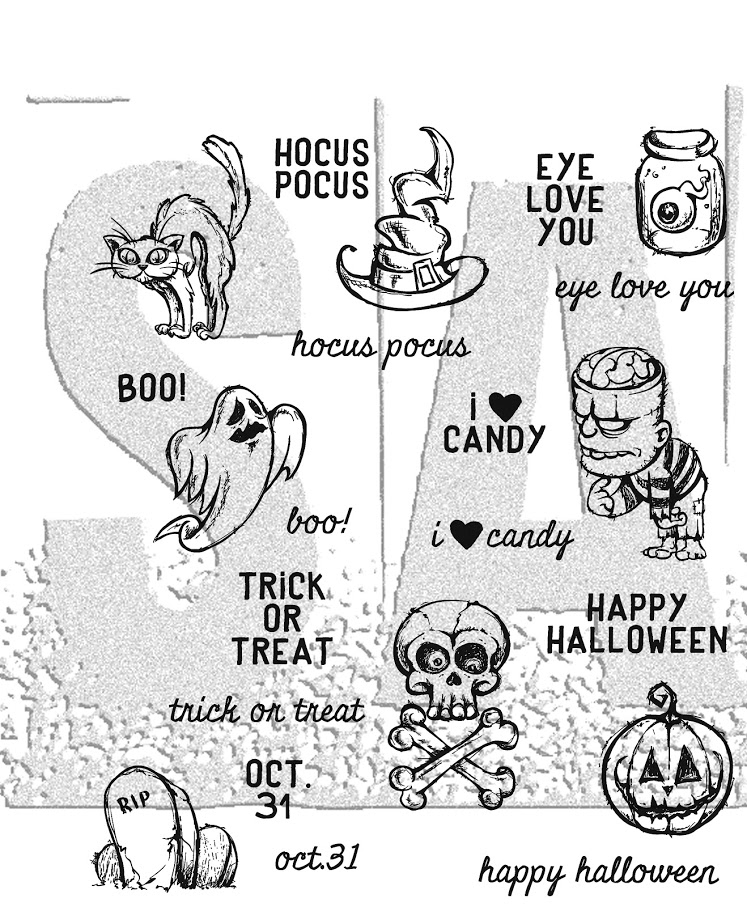 Tim Holtz Cling Rubber Stamps 2017 SCARED SILLY CMS311 zoom image