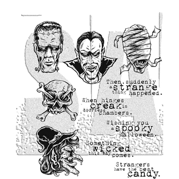 Tim Holtz Cling Rubber Stamps 2017 MONSTROUS CMS307