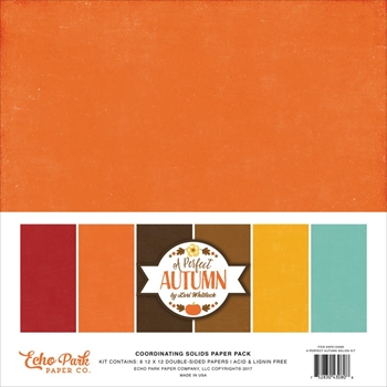 Echo Park A PERFECT AUTUMN 12 x 12 Double Sided Solids Paper Pack APA132060