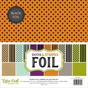 Echo Park BLACK FOIL DOTS AND STRIPES 12 x 12 Collection Kit DSF17047