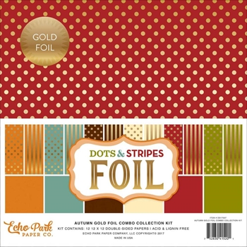 Echo Park GOLD FOIL DOTS AND STRIPES 12 x 12 Collection Kit DSF17037
