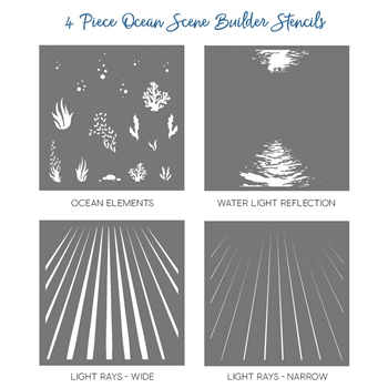 Honey Bee OCEAN SCENE BUILDER Stencils Set of 4 HBSL03