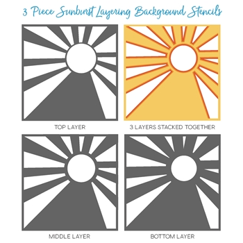 Honey Bee SUNBURST LAYERING BACKGROUND Stencils Set of 4 HBSL05