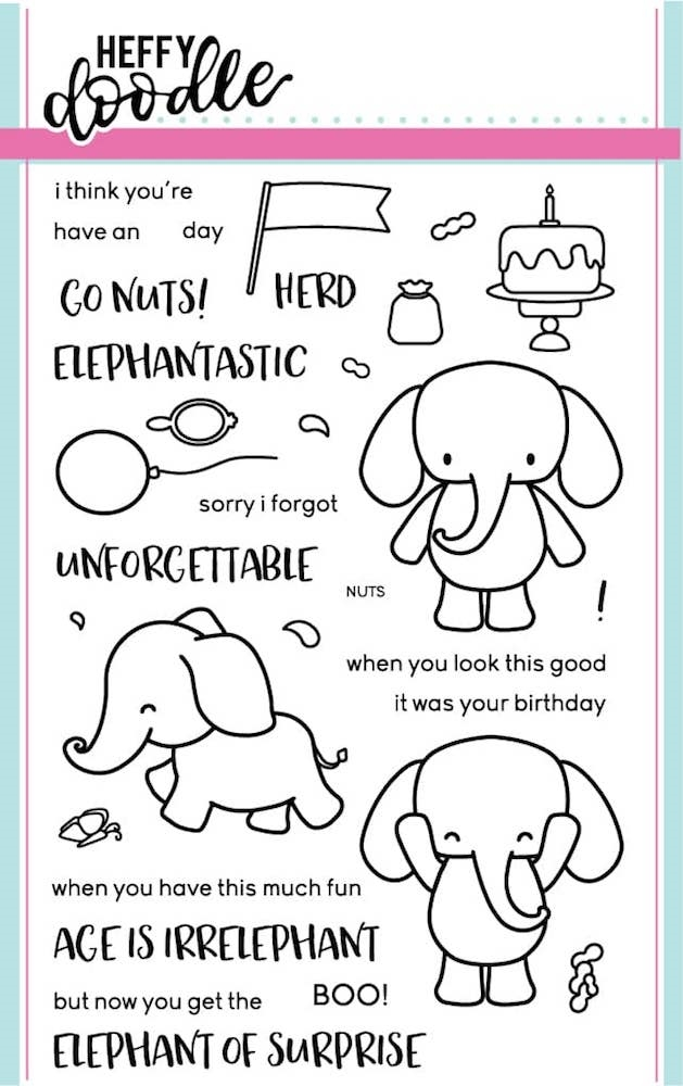 Heffy Doodle ELEPHANT OF SURPRISE Stamps HFD0001