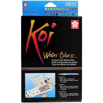 Sakura KOI WATERCOLORS SKETCH BOX 48 Colors With Waterbrush XNCW48N