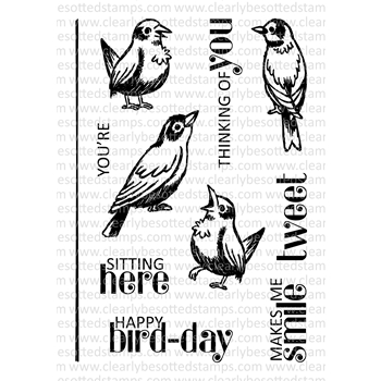 Clearly Besotted BIRDS OF A FEATHER Clear Stamp Set