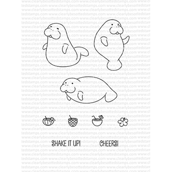 Clearly Besotted MANATEE MISCHIEF Clear Stamp Set