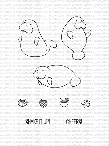 Clearly Besotted MANATEE MISCHIEF Clear Stamp Set zoom image