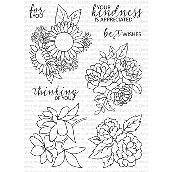 Clearly Besotted FLORAL FANCY Clear Stamp Set