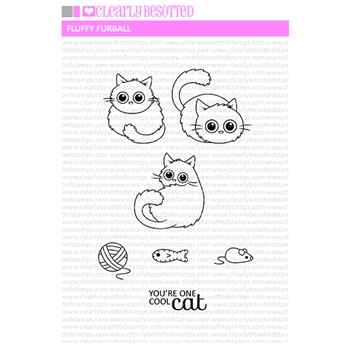 Clearly Besotted FLUFFY FURBALL Clear Stamp Set