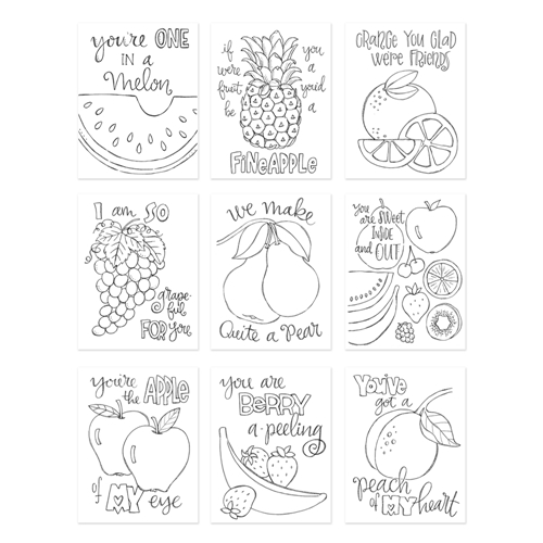 Simon Says Stamp Suzy's FRUIT PUNS Watercolor Prints SZFP17 Encouraging Words Preview Image