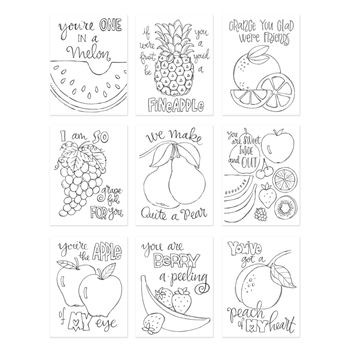 Simon Says Stamp Suzy's FRUIT PUNS Watercolor Prints SZFP17 Encouraging Words