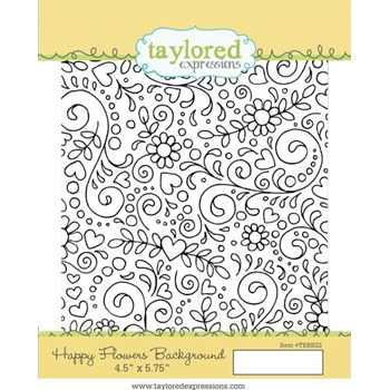 Taylored Expressions HAPPY FLOWERS BACKGROUND Cling Stamp TEBB22