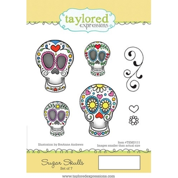 Taylored Expressions SUGAR SKULLS Cling Stamp Set TEMD111
