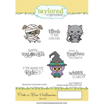 Taylored Expressions PEEK A BOO HALLOWEEN Cling Stamp Set TEMD112