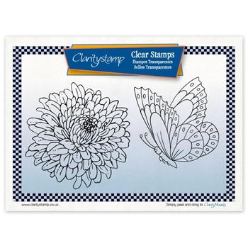Claritystamp CHRYSANTHEMUM AND BUTTERFLY Clear Stamps STAFL10541A5