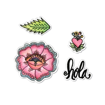 Sizzix Framelits HOLA FLOWER Combo Die and Stamp Set 662318