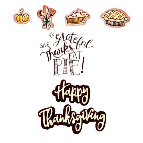 Sizzix Framelits GIVE THANKS EAT PIE Combo Die and Stamp Set 662272* Preview Image
