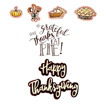 Sizzix Framelits GIVE THANKS EAT PIE Combo Die and Stamp Set 662272