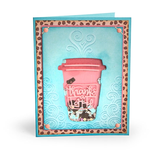 Sizzix THANKS A LATTE Impresslits Cut and Emboss Folder 662277 Preview Image