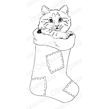 Impression Obsession Cling Stamp STOCKING CAT D7880