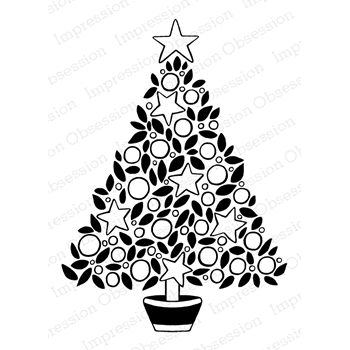 Impression Obsession Cling Stamp STAR TREE SOLID LEAVES H16302
