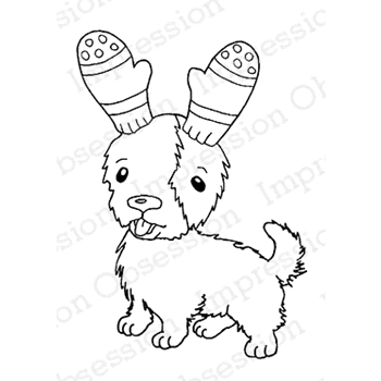 Impression Obsession Cling Stamp MITTEN EAR PUPPY D7891