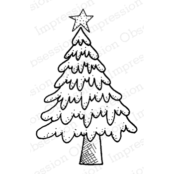 Impression Obsession Cling Stamp FLUFFY TREE D19658