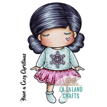 La-La Land Crafts Cling Stamp PAPER DOLL CHRISTMAS SWEATER MARCI 5355