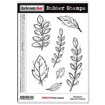 Darkroom Door Cling Stamp FINE LEAVES Rubber UM DDRS179