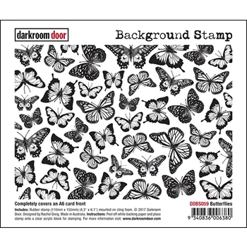Darkroom Door Cling Stamp BUTTERFLIES Background Rubber UM DDBS059