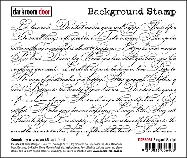 Darkroom Door Cling Stamp ELEGANT SCRIPT Background Rubber UM DDBS061 zoom image