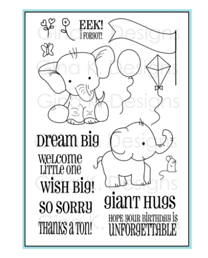 Gina K Designs BELLA ELEPHANT Clear Stamps 1134 zoom image