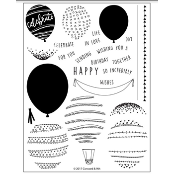 Concord & 9th HAPPY BALLOONS Clear Stamp Set 10243