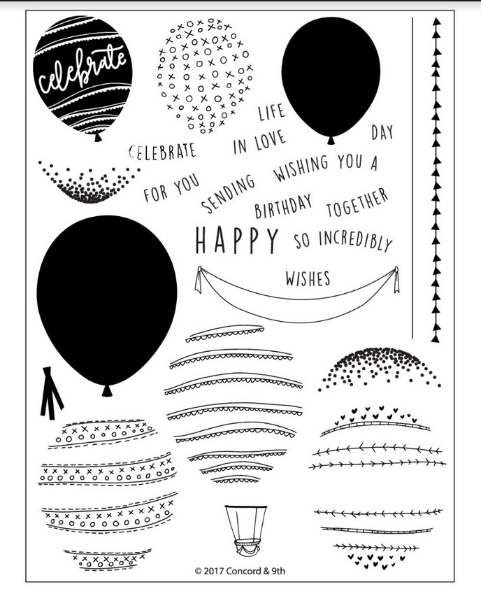 Concord & 9th HAPPY BALLOONS Clear Stamp Set 10243 zoom image