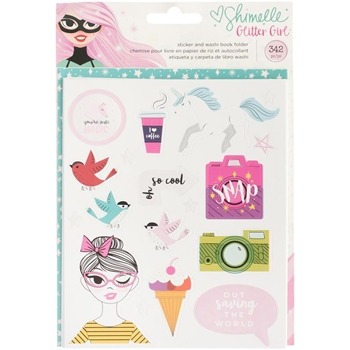American Crafts Shimelle STICKER AND WASHI BOOK FOLDER Glitter Girl 343665