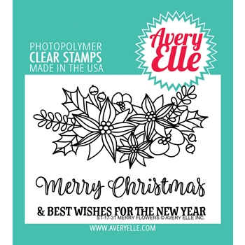 Avery Elle Clear Stamps MERRY FLOWERS
