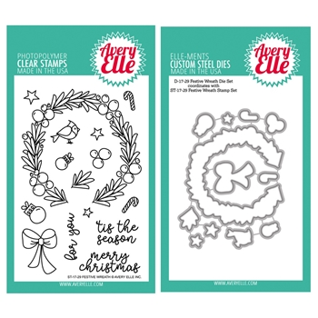 Avery Elle Clear Stamp and Die SETFWRAE Festive Wreath SET