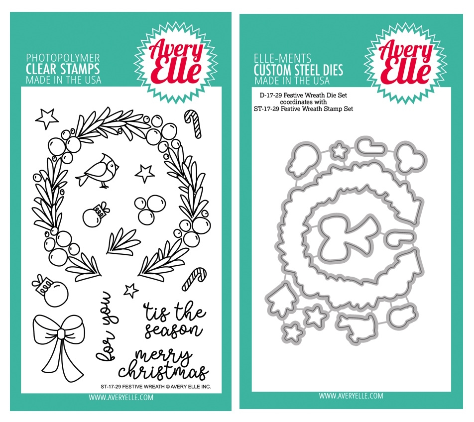 Avery Elle Clear Stamp and Die SETFWRAE Festive Wreath SET zoom image