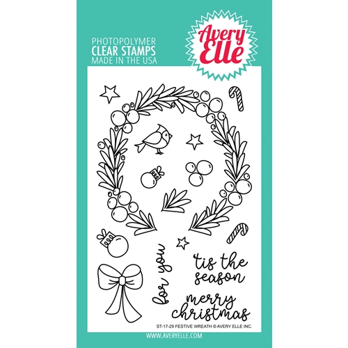 Avery Elle Clear Stamps FESTIVE WREATH ST-17-29 Preview Image