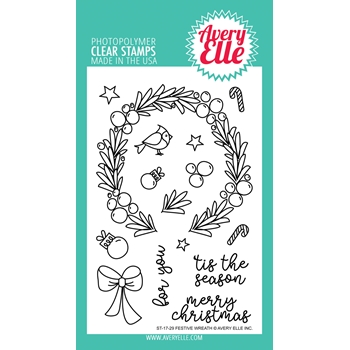 Avery Elle Clear Stamps FESTIVE WREATH