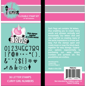 Pink and Main Clickable Stamp Set CURVY GIRL NUMBERS PM0242