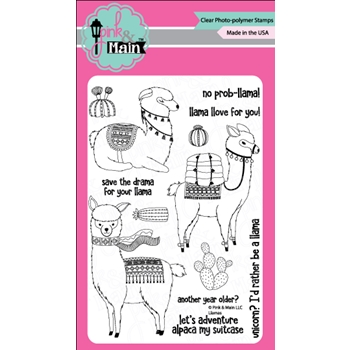 Pink and Main LLAMAS Clear Stamp Set 023310