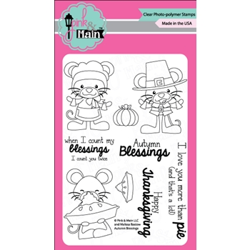 Pink and Main AUTUMN BLESSINGS Clear Stamp Set 023259